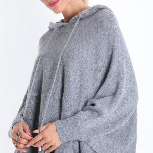 Poncho à capuche gris